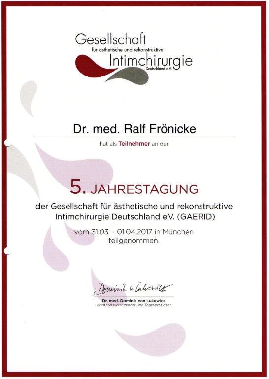 GAERID Fachtagung Intimchirurgie