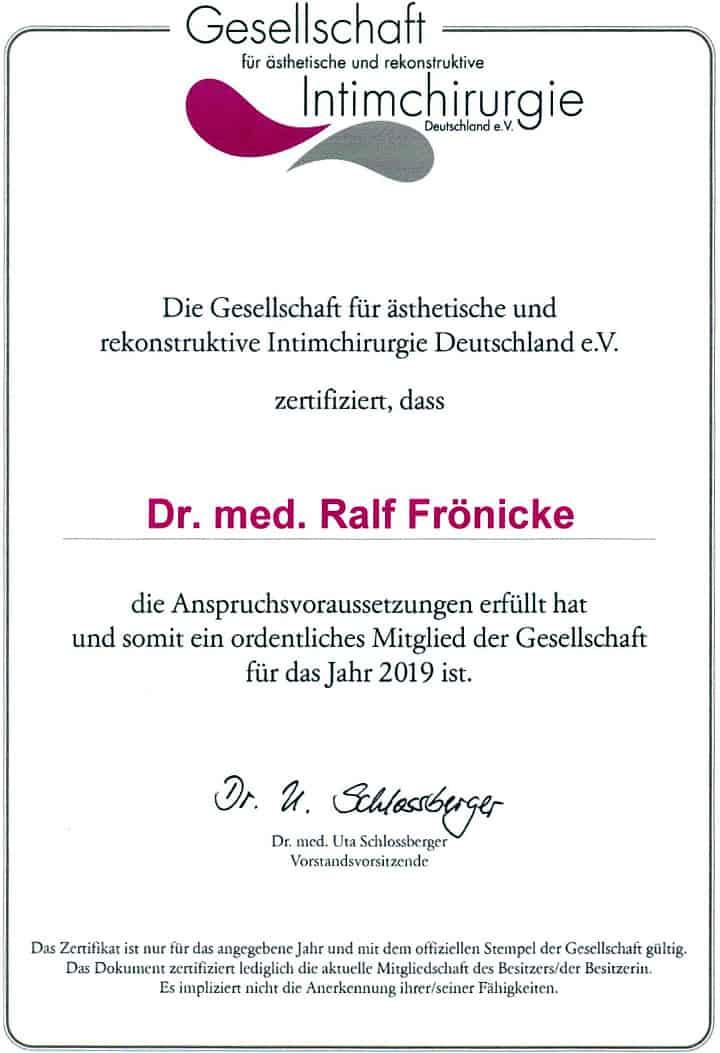 Mitgliedsurkunde der Gesellschaft für ästhetische und rekonstruktive Intimchirurgie Deutschland e.V